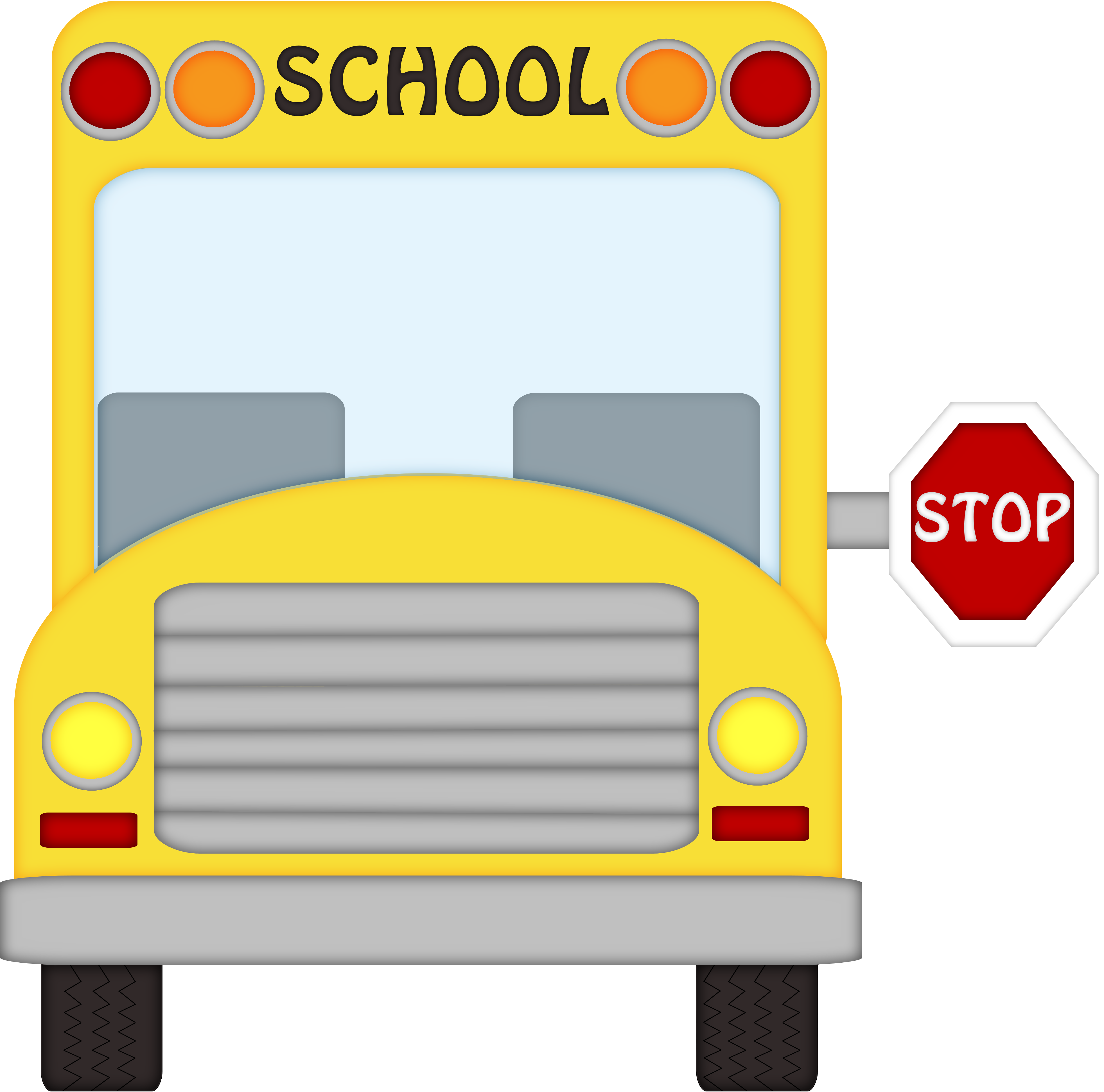 Driver clipart bus stop sign. School stopping black and