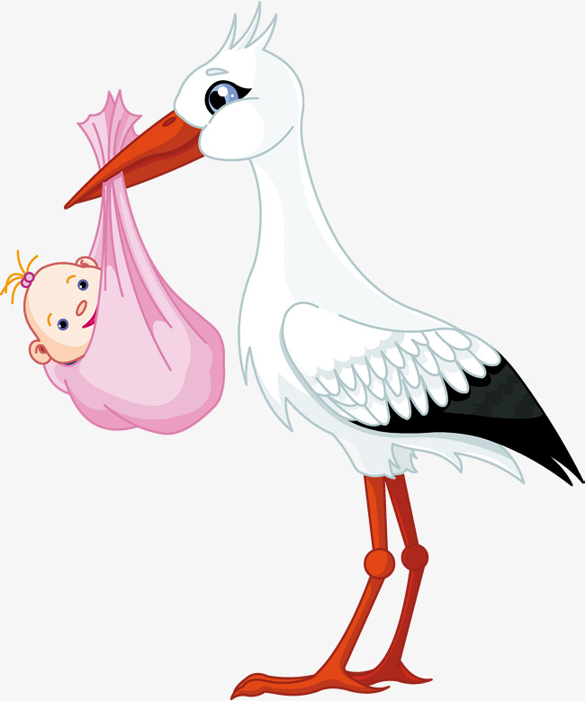 Cute material style pink. Stork clipart