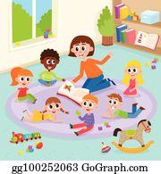 Storytime clipart kindergarten teacher. Vector illustration preschool reading