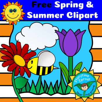 Spring and nature flowers. Storytime clipart summer