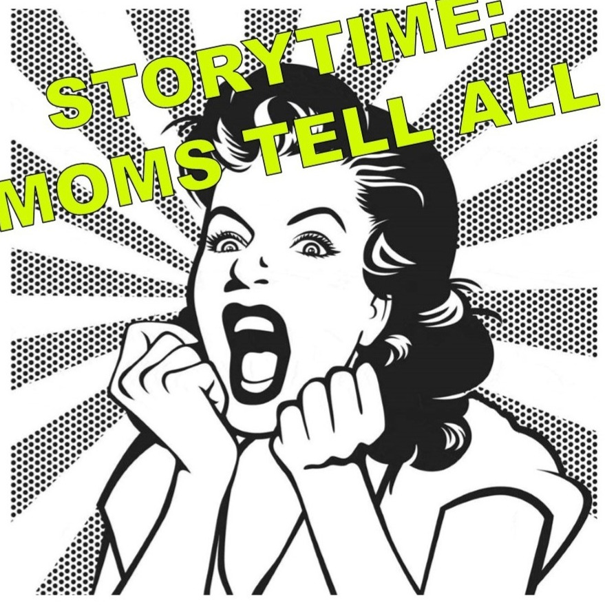 Storytime clipart told. Blue caf presents moms