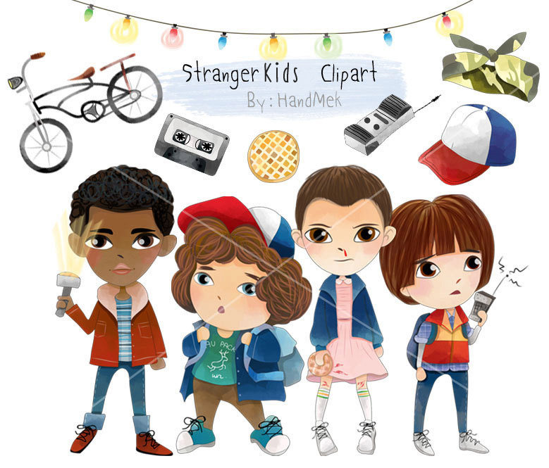 Stranger things clipart. Cute kids characters set