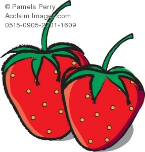 Strawberries clipart. Clip art illustration of