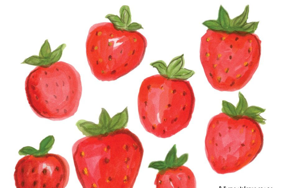 Watercolor . Strawberries clipart 8 object