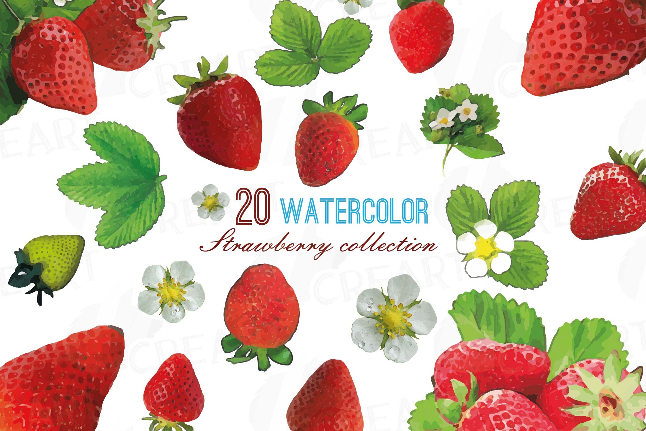 Strawberries clipart 8 object. Watercolor clip art pack