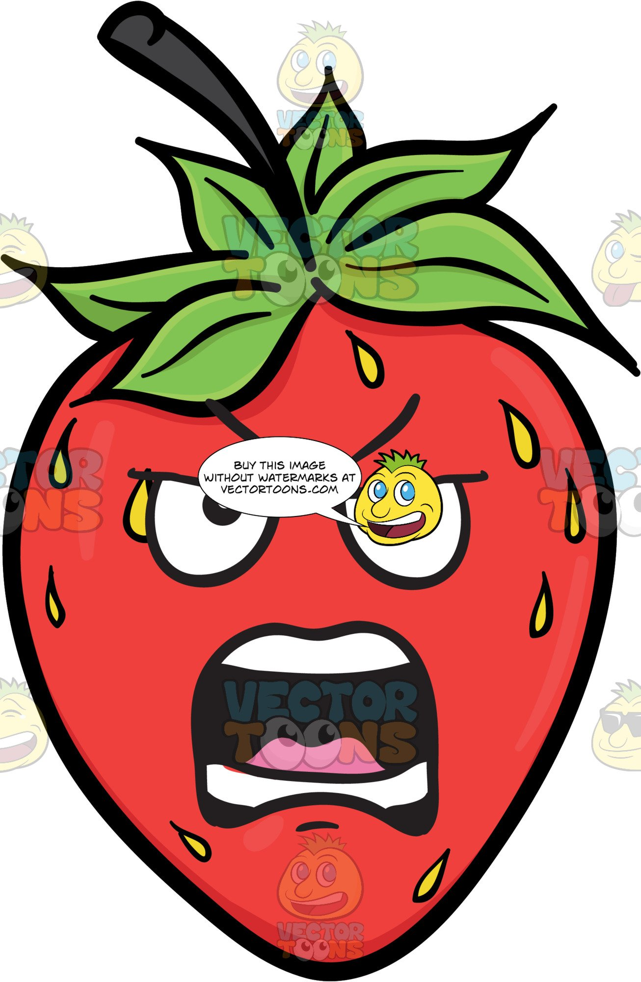 An strawberry fruit . Strawberries clipart angry