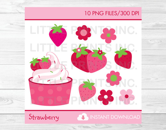 Cute strawberry clip art. Strawberries clipart birthday