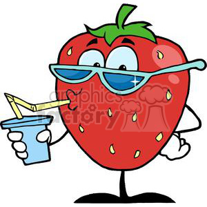 Cartoon strawberry drinking a. Strawberries clipart character