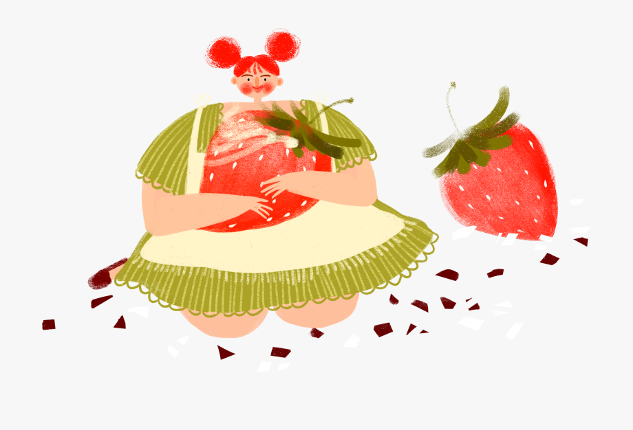 Cartoon cute strawberry girly. Strawberries clipart character