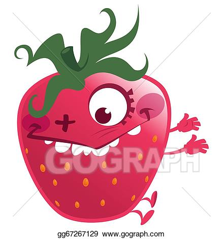 Strawberries clipart character. Drawing cartoon pink strawberry