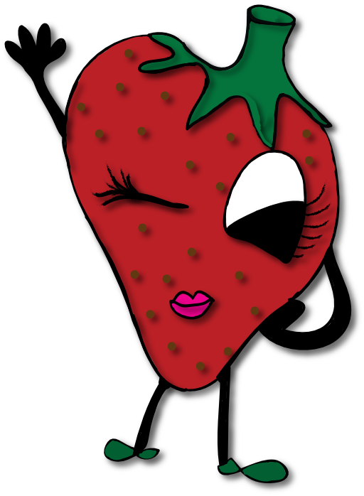 Winking strawberry i royalty. Strawberries clipart comic