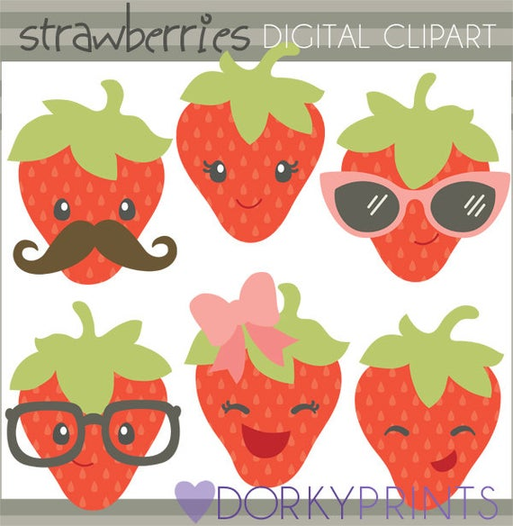 Strawberry set personal and. Strawberries clipart cute