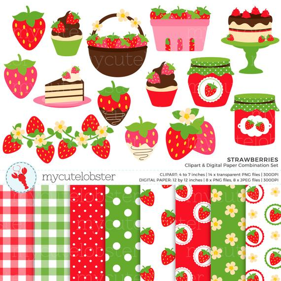 Strawberries clipart digital. Paper set strawberry clip