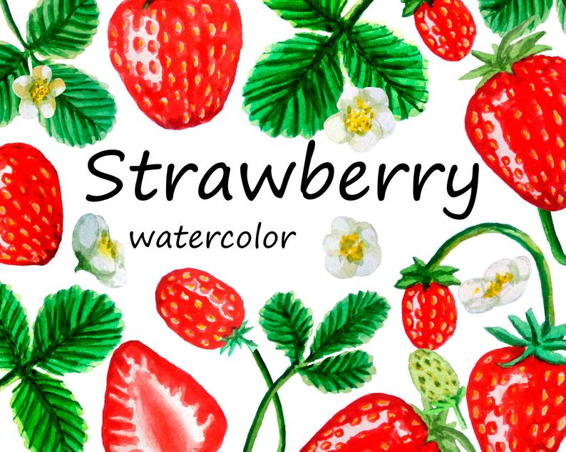 Watercolor strawberry printable scrapbooking. Strawberries clipart digital