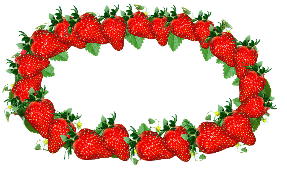 Strawberry border group label. Strawberries clipart frame