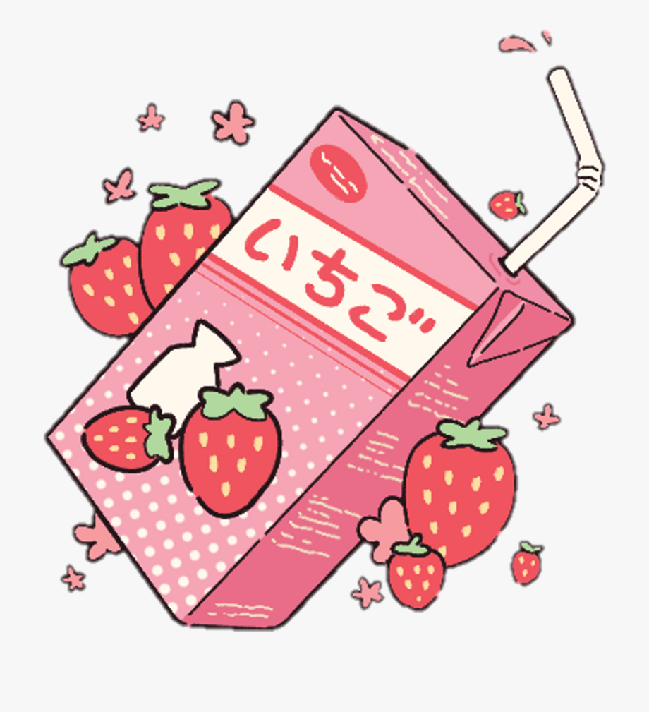 Strawberries clipart freshness. Pastel aesthetic kawaii strawberry
