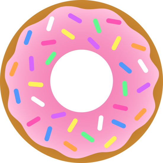 Strawberry sprinkled doughnuts . Strawberries clipart frosted donut