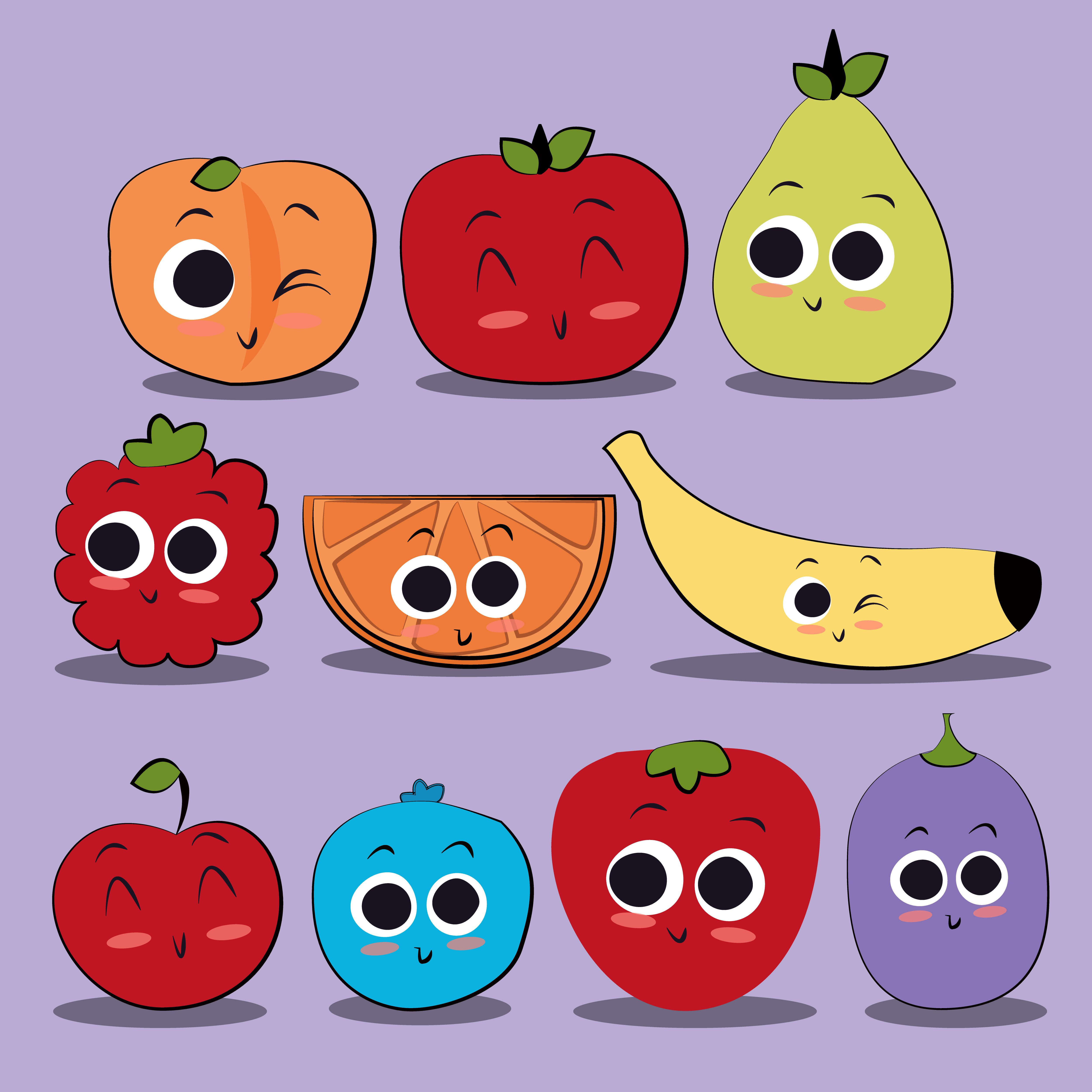 Cute character fruits illustration. Strawberries clipart fun fruit