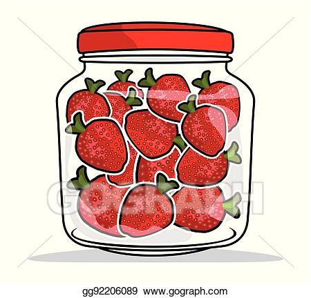 Strawberries clipart jar. Eps illustration in a
