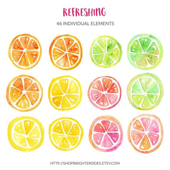 Strawberries clipart lemon fruit. Watercolor tropical summer hand