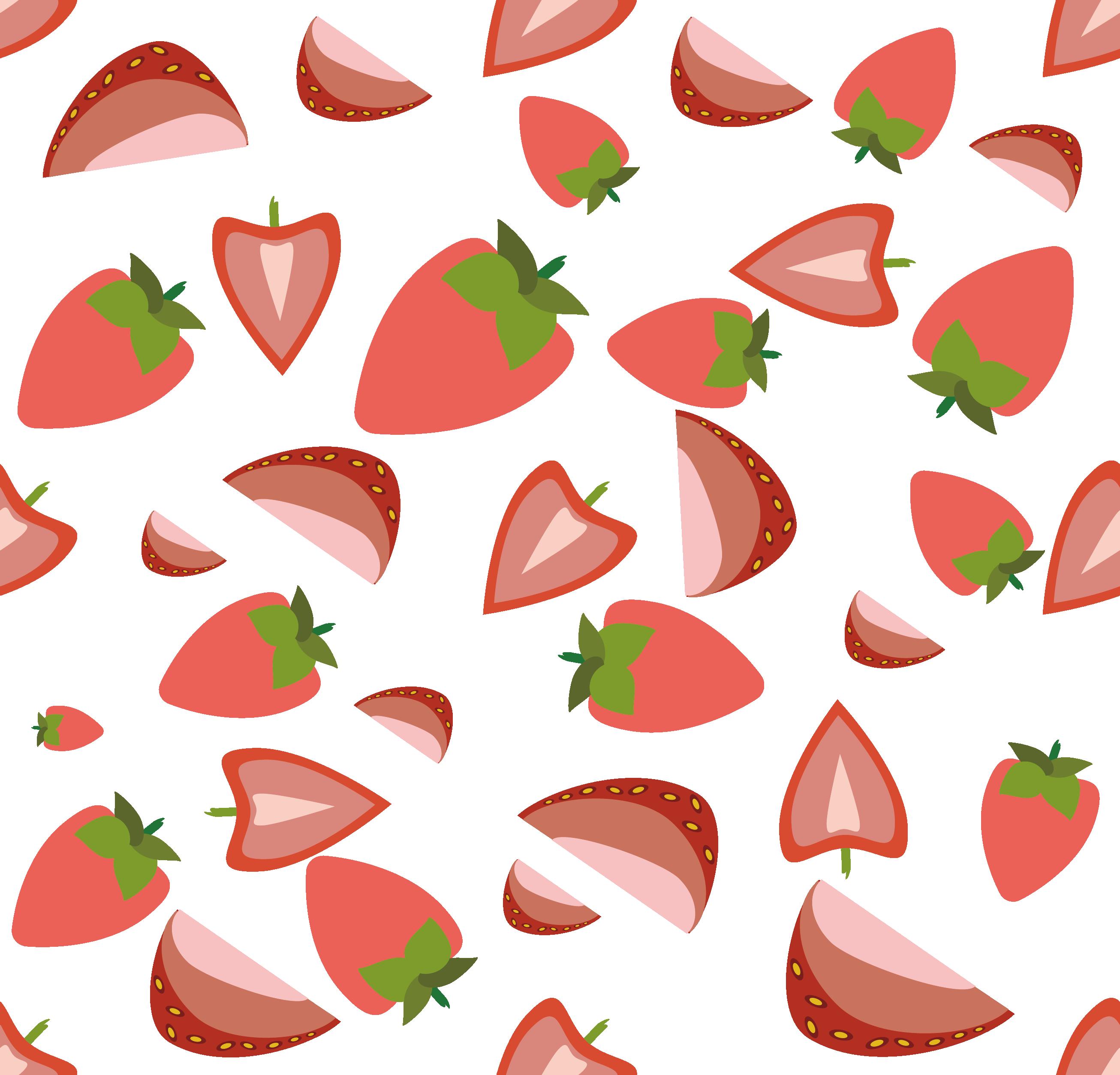 Strawberries clipart pink strawberry. Aedmaasikas fruit cartoon pattern