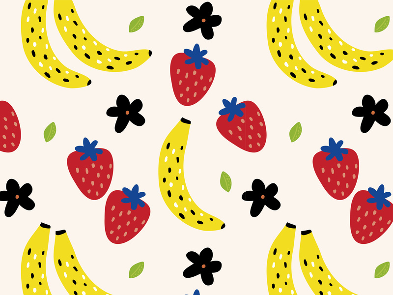 Strawberries clipart repetition. Bananas by kenya aguirre
