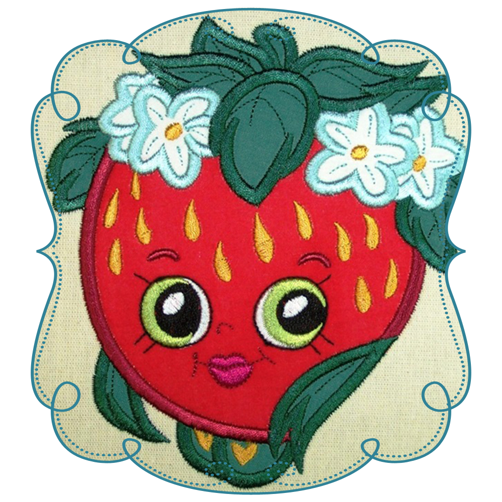 Strawberry applique very berry. Strawberries clipart shopkins