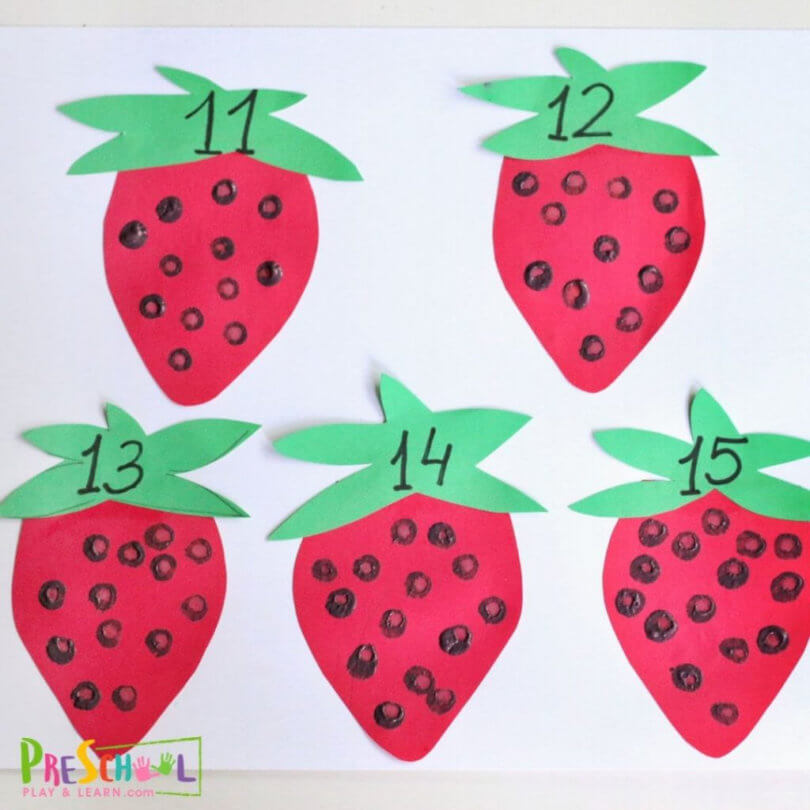 Strawberries clipart simple strawberry. Preschool counting activity play
