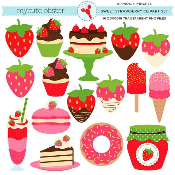 Sweet set clip art. Strawberries clipart small strawberry