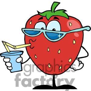 Strawberries clipart soda. Cartoon strawberry character drinking