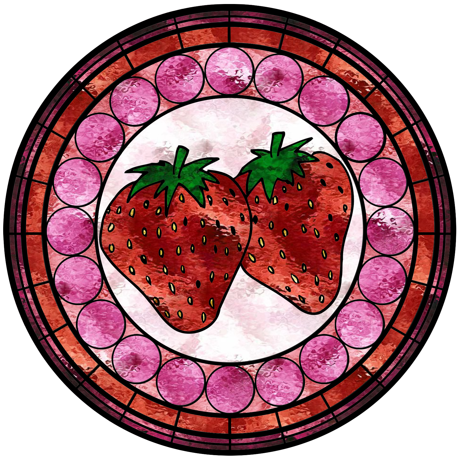 Strawberries clipart strawberry drawing. Stained glass window by