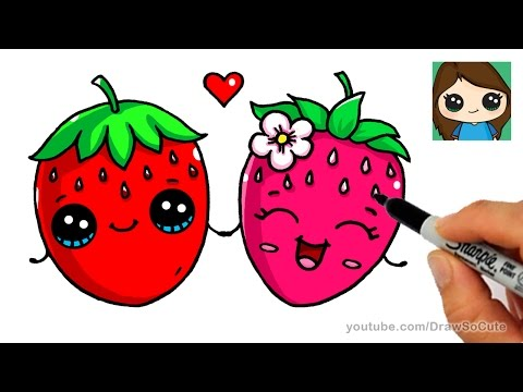 Strawberries clipart strawberry drawing. How to draw a