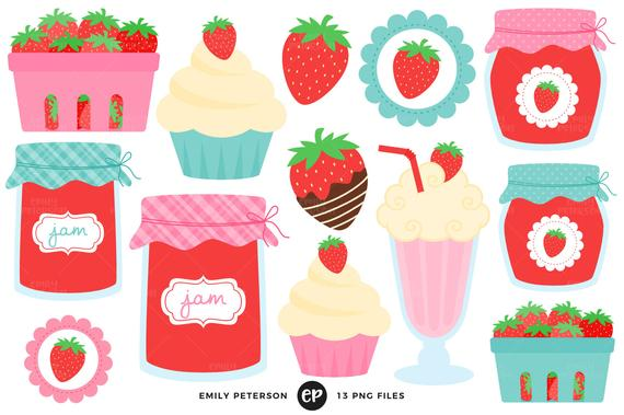 Strawberries clipart strawberry farm. Clip art commercial use