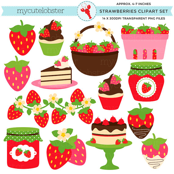 Strawberries clipart strawberry field. Set clip art of