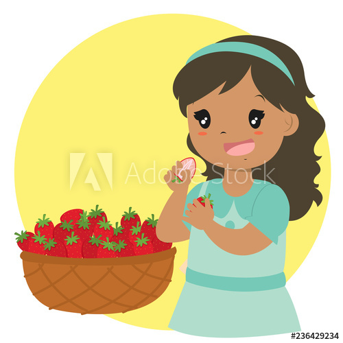 Cute african american eating. Strawberries clipart strawberry girl