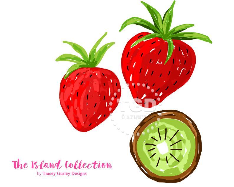 Strawberries clipart strawberry kiwi. Preppy clip art original