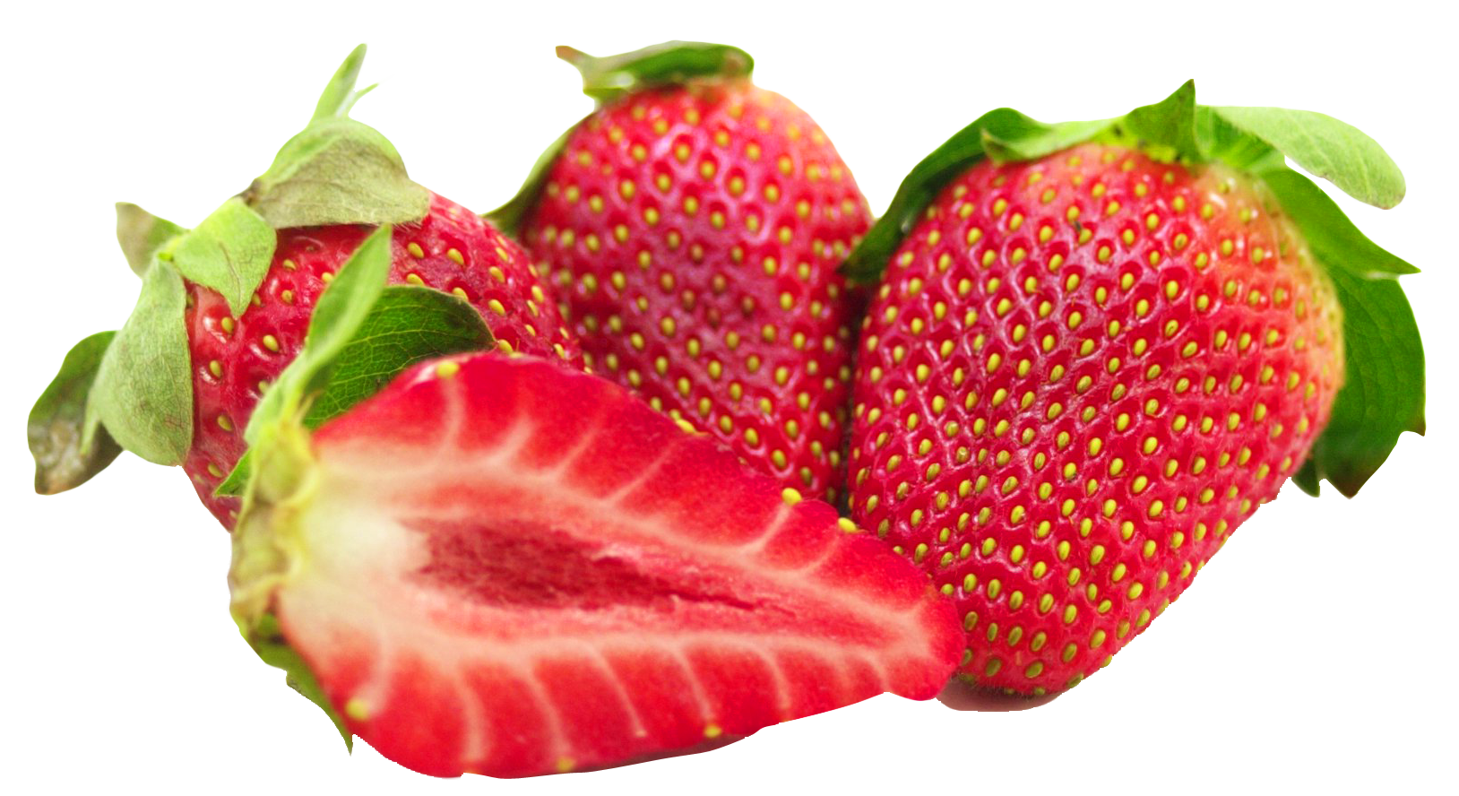 Strawberries clipart strawberry slice. With leaf and sliced