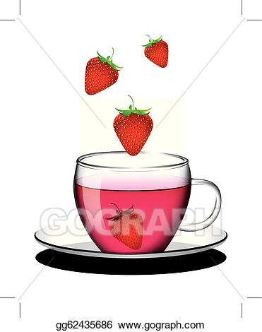 Vector illustration cup of. Strawberries clipart strawberry tea
