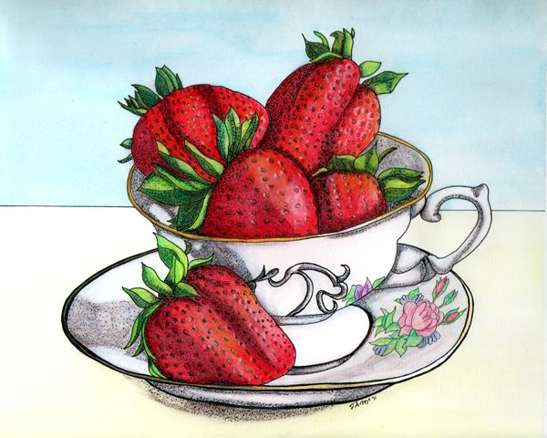 Strawberries clipart strawberry tea. Watercolor ink illustration by