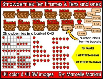 Place value frames counting. Strawberries clipart ten