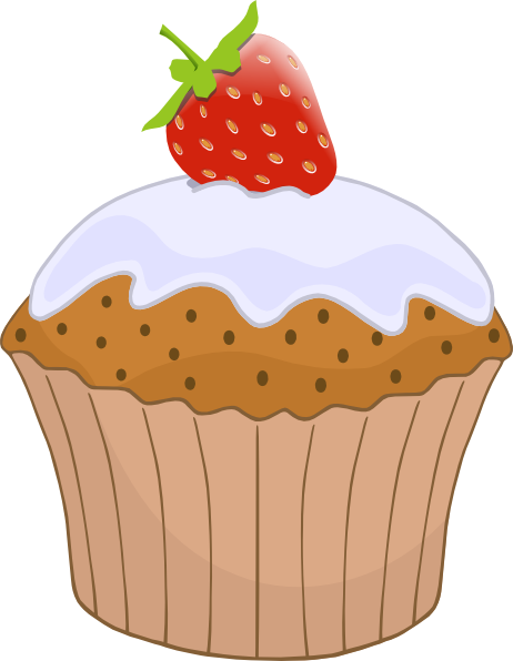 Strawberries clipart top. Cupcake with strawberry on