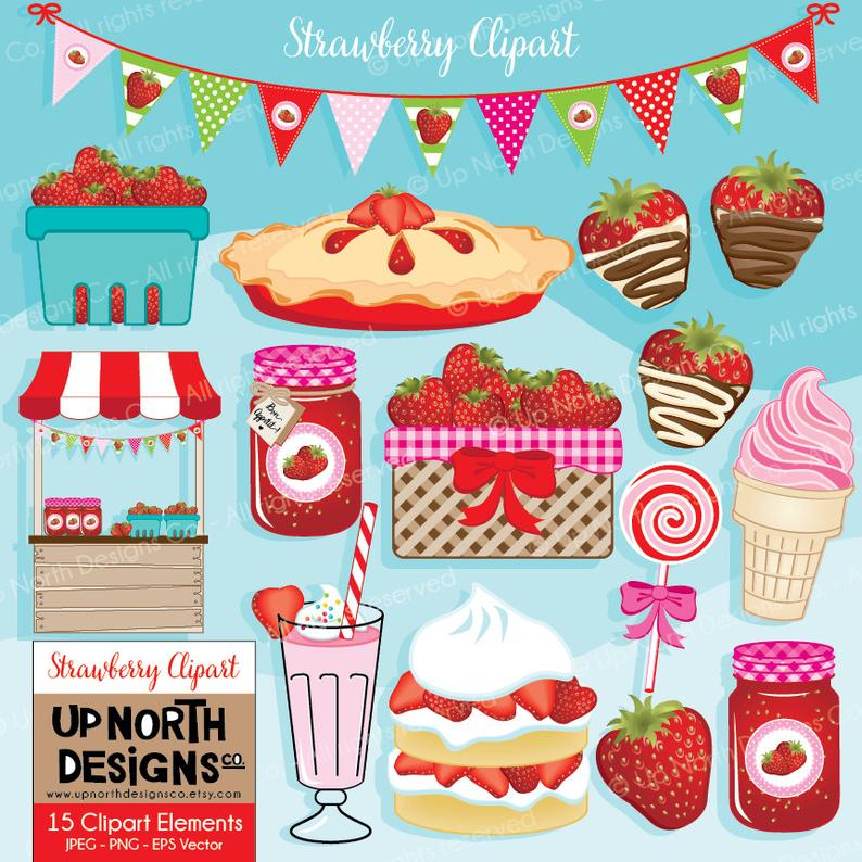 Strawberry cake bunting pie. Strawberries clipart upo