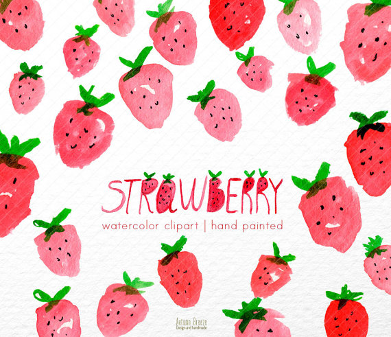 Strawberry watercolour clip art. Strawberries clipart watercolor