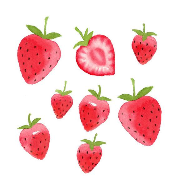 Set fruit food summer. Strawberries clipart watercolor