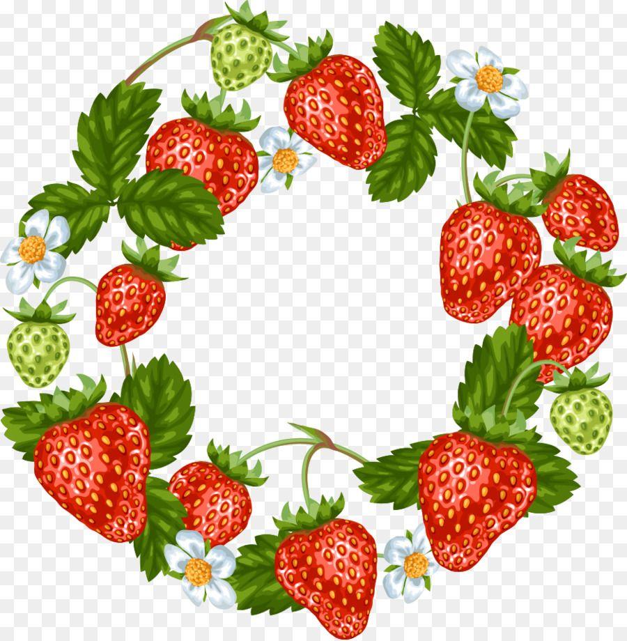 Strawberry frutti di bosco. Strawberries clipart wreath
