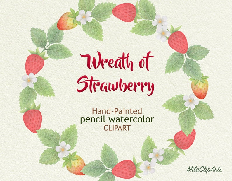 Of strawberry hand painted. Strawberries clipart wreath