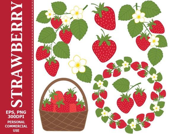 Strawberries clipart wreath. Digital strawberry clip art
