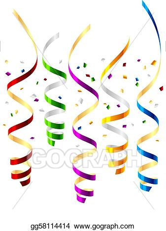 Streamers clipart. Vector art party drawing
