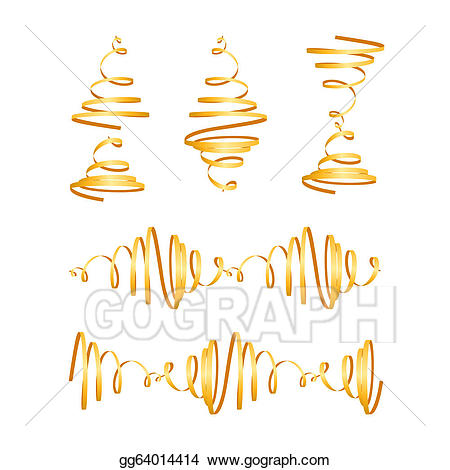 Streamers clipart curl. Eps vector festive gold