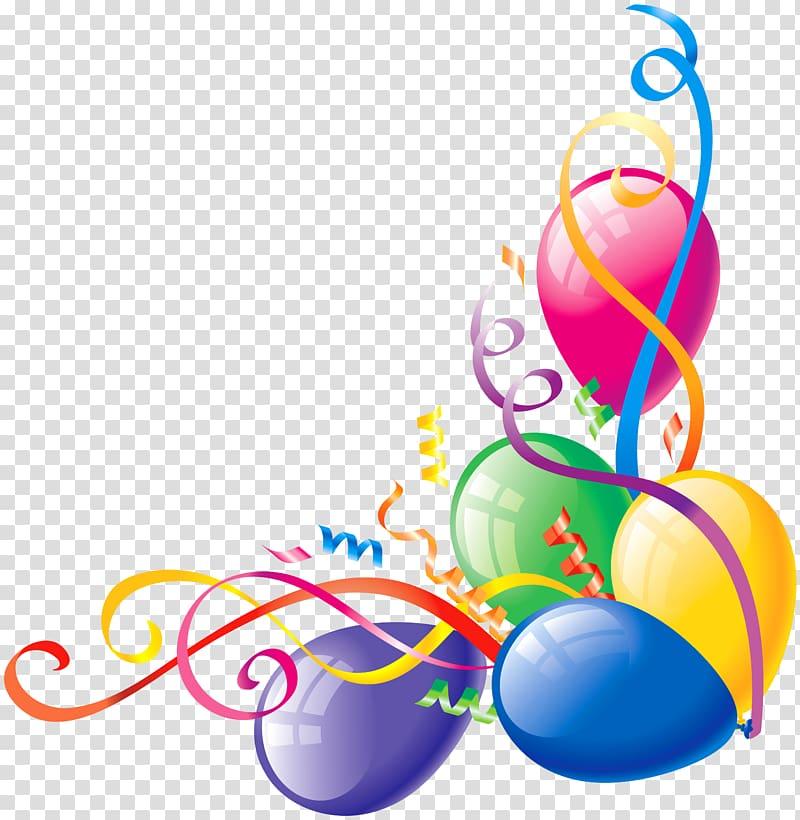 Balloon birthday large balloons. Streamers clipart deco